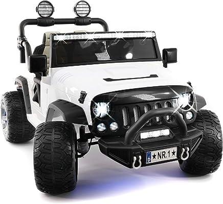 Luxury Electronics 2018 Ride On Kids - Camión de 12 V con dos asientos, batería de 12 V, 3 velocidades, asiento de piel, Blanco