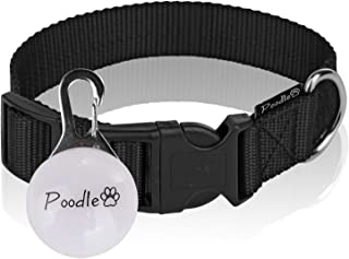 Poodle pet Dog Collar –Adjustable Basic Black Dog Collar – Safe Nylon Fabric - Easy to Snap On – Bonus LED Light Included – 2.5cm Wide – 3 Different Length Options for Small, Medium, or Large Dogs