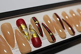 Bee Stripe long stiletto 20pcs full cover Press On false nails - Nail Tips 10 sizes…
