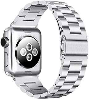 PUGO TOP Compatible with Silver Apple Watch Band 38mm 40mm Series 5/4/3/2/1 Stainless Steel Iwatch iPhone Watch Band Men Women. (38mm/40mm, Silver)