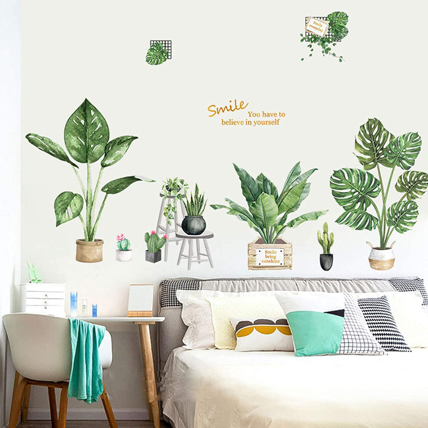Tropical Green Leaf Wall Decor Vinyl Tropical Plants Nature Palm Wall Stickers Tree Leaves Wall Decorations Removeable Art Murals for Kids Rooms TV Wall Bar Counter Home Office Bedroom Nursery Decor