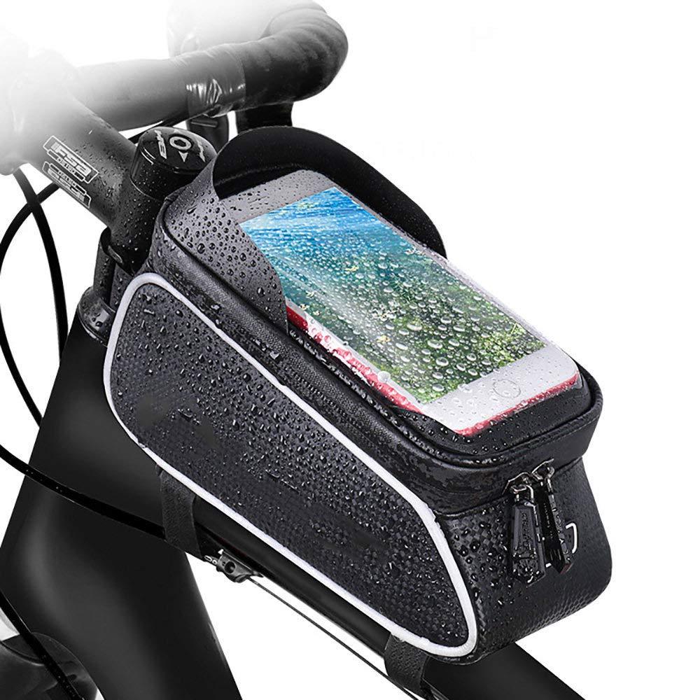 WHTBOX Bolsa Bicicleta Cuadro Movil,Bolsa De Bicicleta Manillar,Adecuado para Todo Tipo De AutomóViles, Orificios para Auriculares, Tiras Reflectantes, Gran Capacidad, Parasoles,Black-S: Amazon.es: Jardín