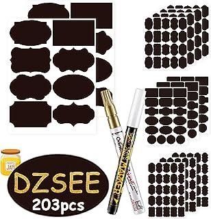 DZSEE® 203x Étiquettes Bocaux +2 marqueurs de Craie, Étiquettes Autocollantes Bocaux Noires, Étiquettes De Tableau Noir, É...