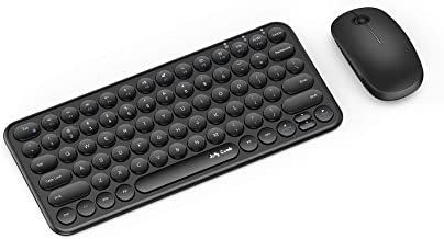 Wireless Keyboard and Mouse Combo, Jelly Comb KS45 2.4GHz Ultra Thin Compact Small Wireless Keyboard and Mouse Set for Laptop/PC, Window XP/Vista / 7/8/ 9 - Round Keycaps (Black)