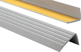 ProfiPVC Zelf klevende PVC trap neus - trapprofiel van getest PVC, anti-slip, 41x25mm 130cm, Grijs