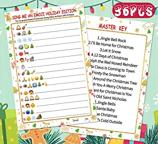 Christmas Party Game - Sing Me an Emoji Pictionary Cards – Xmas Holiday School Class Supplies Activity 36players