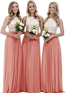 42e5fa298288d XJLY Line Lace Chiffon Floor Length Bridesmaid Dress Wedding Party Dress