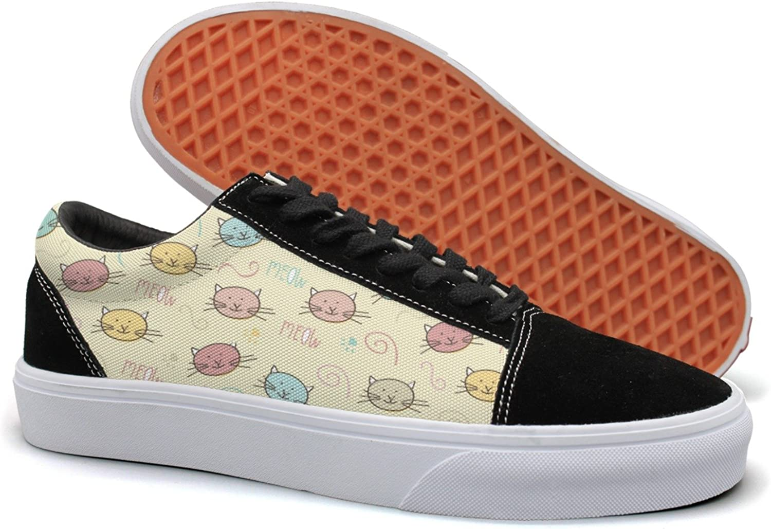 Hjkggd fgfds Casual Cat Face Kitten MOEW Yellow Background Beautiful Women Canvas Sneakers shoes