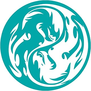 UR Impressions Teal Tribal Dragon Yin Yang Decal Vinyl Sticker Graphics Car Truck SUV Van Wall Window Laptop|Teal|5.5 Inch|URI408-T