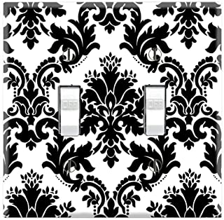 Graphics Wallplates - Black and White Damask - Dual Toggle Wall Plate Cover