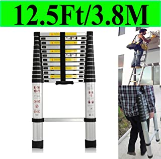 ZhanGe Folding Ladder 3.2M//10.5 FT Aluminium Telescopic Multi Purpose Telescoping Ladder Extension Tall Straight Ladder Steps 300 Pound Capacity for Business Home Outdoor DIY Builder