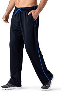 MAGNIVIT Men's Lightweight Sweatpants Loose Fit Open Bottom Mesh Athletic Pants with Zipper Pockets