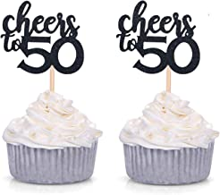 Black Glitter Cheers to 50 Cupcake Toppers 50th Birthday Celebrating Party Decorations - 24 Pack