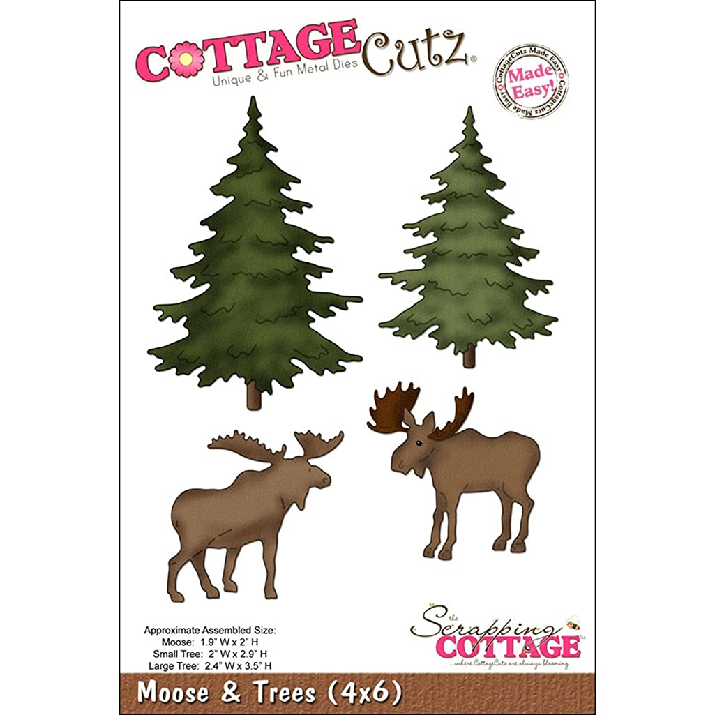 CottageCutz 4X6037 Die with Foam, 4 by 6-Inch, Moose and Trees Made Easy
