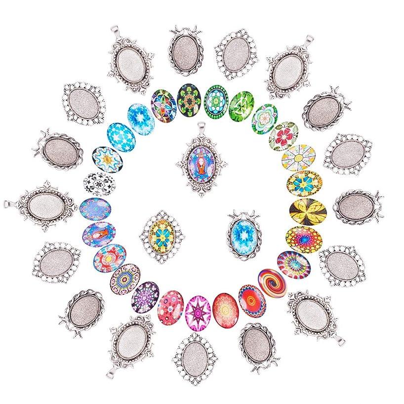 PH PandaHall DIY Jewelry Pendant Making, 30 PCS Mosaic Printed Glass Oval Cabochons with 30 PCS Tibetan Style Alloy Blank Pendant Frame Trays