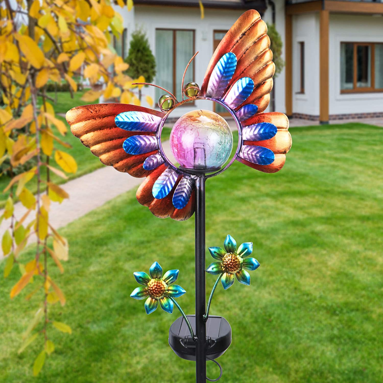Outdoor Solar Garden Stake Lights Butterfly Waterproof LED Crackle Glass Globe Stake Metal Light for Walkway Pathway Lawn Patio Decor