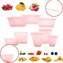 8 Pack Reusable Silicone Food Bag Zip Lock Containers, BPA Free Leakproof Cup Pattern Dishes Storage Bags for Fruit/Snack/Vegetables, Microwave Dishwasher & Freezer Safe, Blue (Pink)
