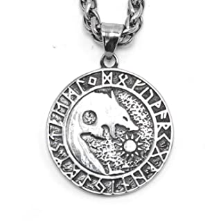 ENXICO Skoll and Hati Wolf with Rune Circle Pendant Necklace ♦ 316L Stainless Steel ♦ Nordic Scandinavian Viking Jewelry