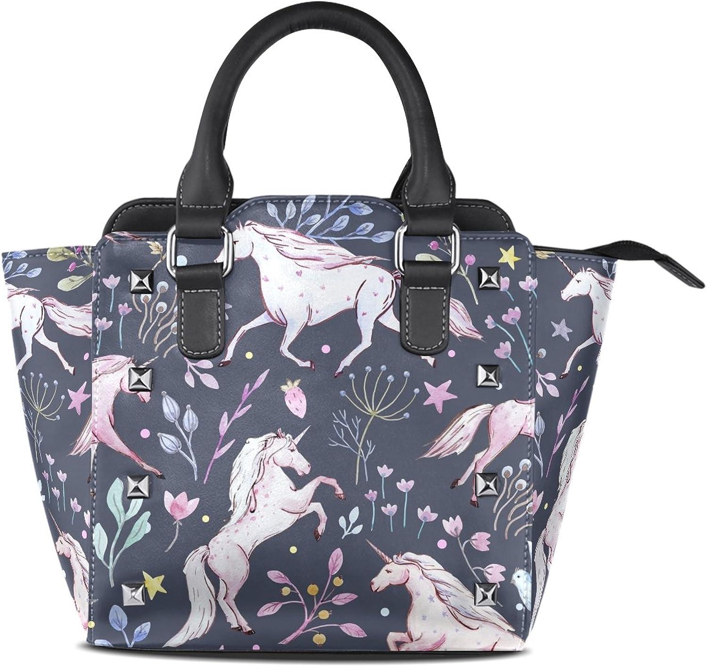 My Little Nest Women's Top Handle Satchel Handbag Watercolor Unicorns Floral Ladies PU Leather Shoulder Bag Crossbody Bag