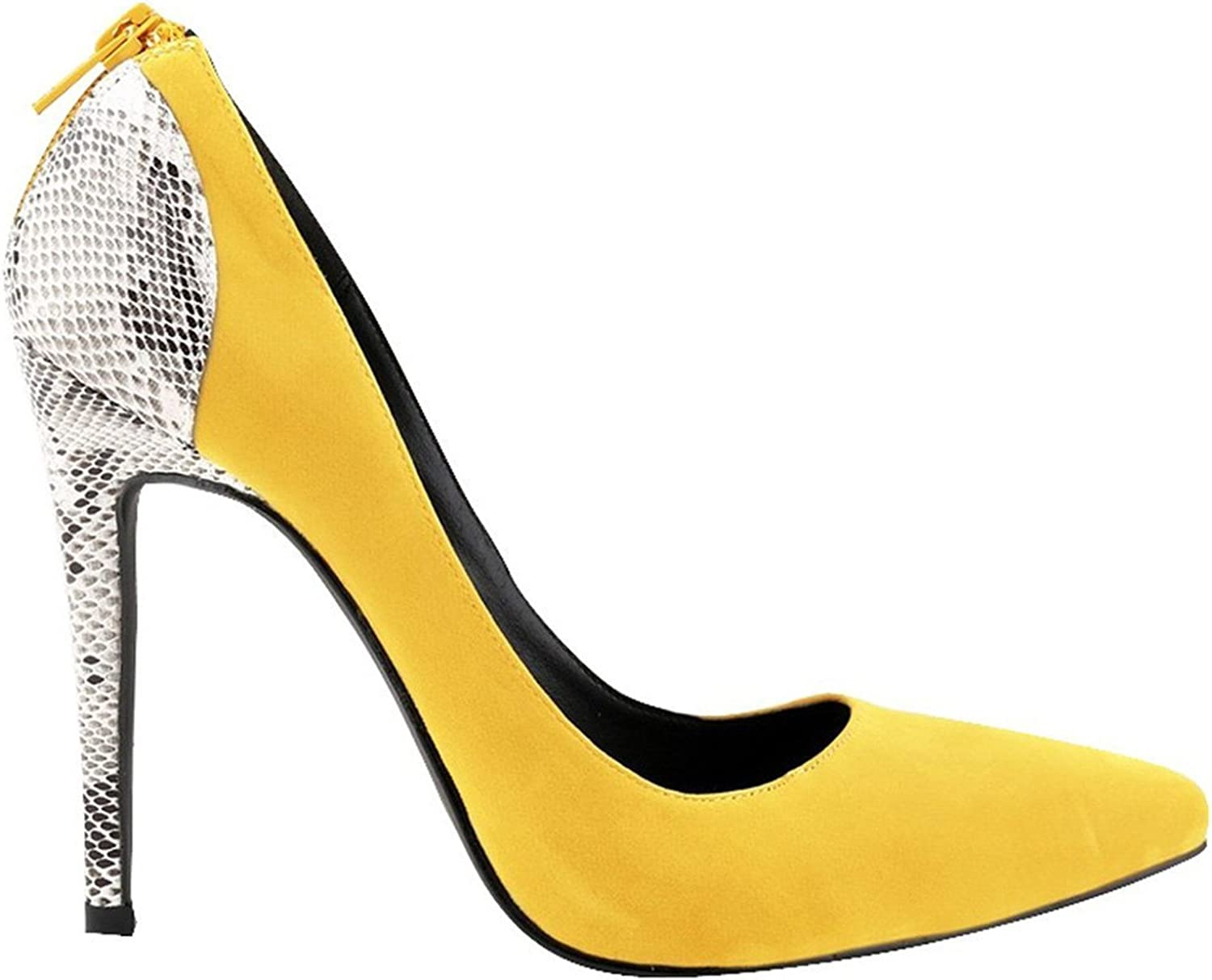 WANabcMAN Comfortable Women's Suede Pointy Stiletto High Heels Party Pumps Weeding shoes Yellow42 M EU