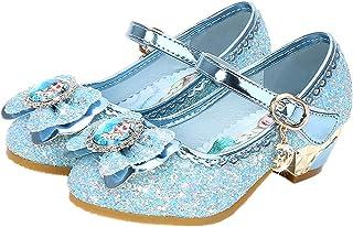 Eleasica Fille Talons Hauts Chaussures de Princesse Reine des Neiges Elsa Anna Paillettes Déguisement Violet Argenté Bleu ...