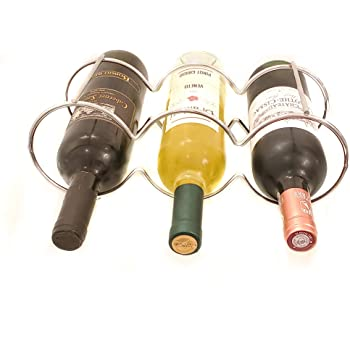 Dependable Industries inc Silver Keeps Bottles of Wine Horizontal to Prevent Oxidation DINY Home /& Style Stackable Table Top Wine Rack Each Holds 4 Bottles