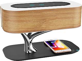 Lámpara De Cabecera Con Altavoz Bluetooth Y Cargador Inalámbrico | Toque Regulable | Lámpara De Noche Con Modo De Suspensión | Cargador Inalámbrico | Atenuación Continua | Lámpara De Mesa | LED