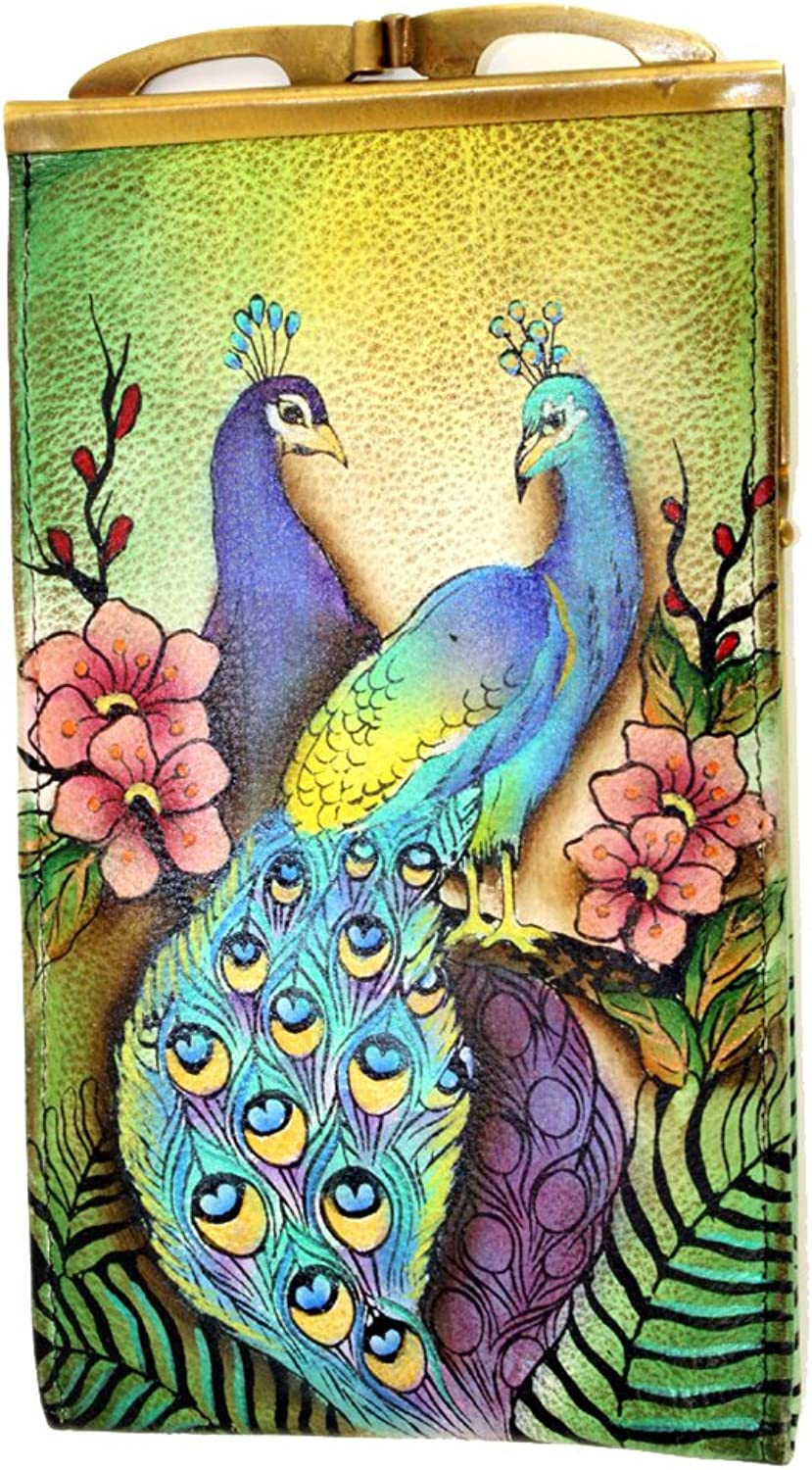 Anuschka Genuine Leather Hand Painted Eye Sunglass Case (Passionate Peacock)