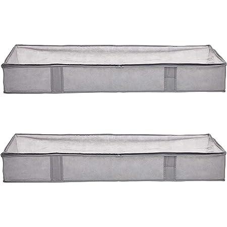 Amazon Basics Lot de 2 housses de rangement pour dessous de lit avec fermeture Éclair