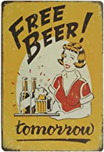 Pôster erlood Free Beer Tomorrow Vintage Funny Home Decor Placa de lata retrô metal bar Pub 8 x 12
