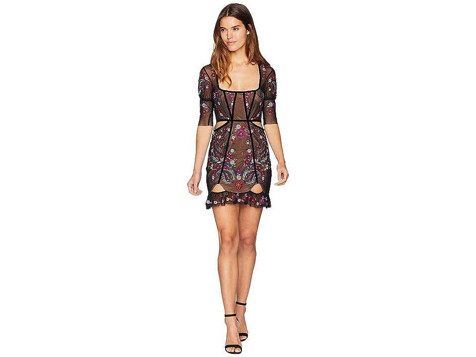 For Love and Lemons Ester Embroidery Mini Dress (Noir) Women