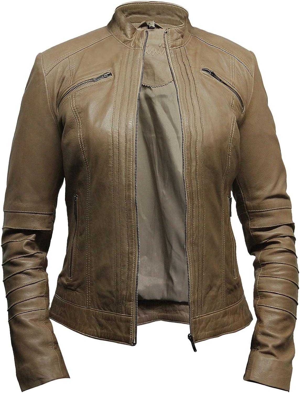 Brandslock Womens Real Leather Biker Jacket Designer Look