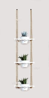 Vah Wood Hanging Planter Shelf Plant Hanger Decorative Flower Pot Rack with Rope (3 Tier Pot, White)