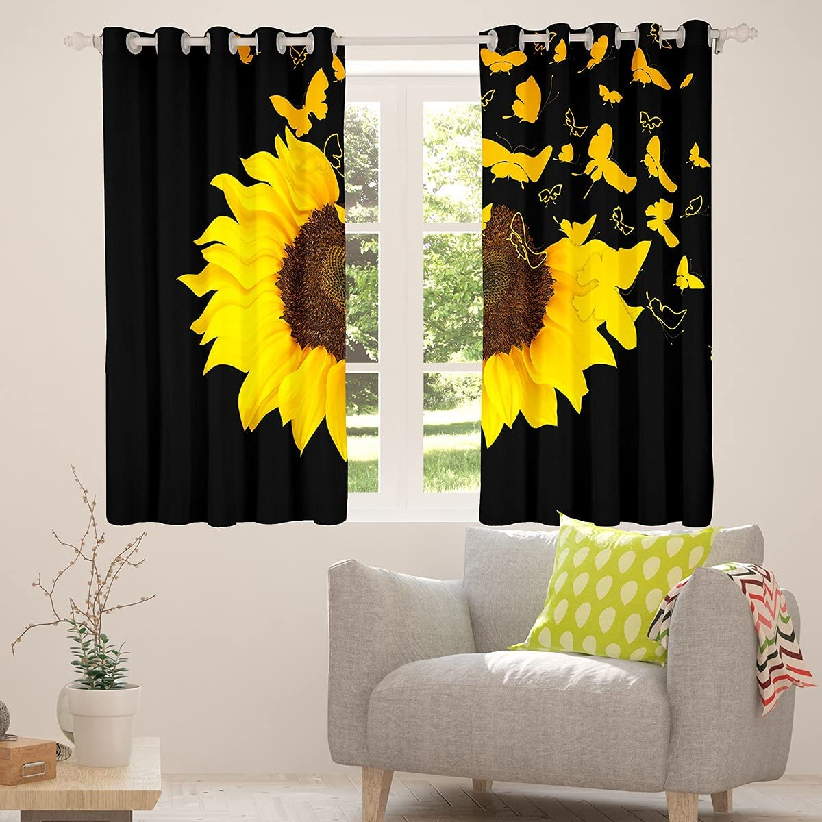 Erosebridal Sunflower Butterfly Window Curtains Blooming Super-cheap Wi Girl Limited Special Price