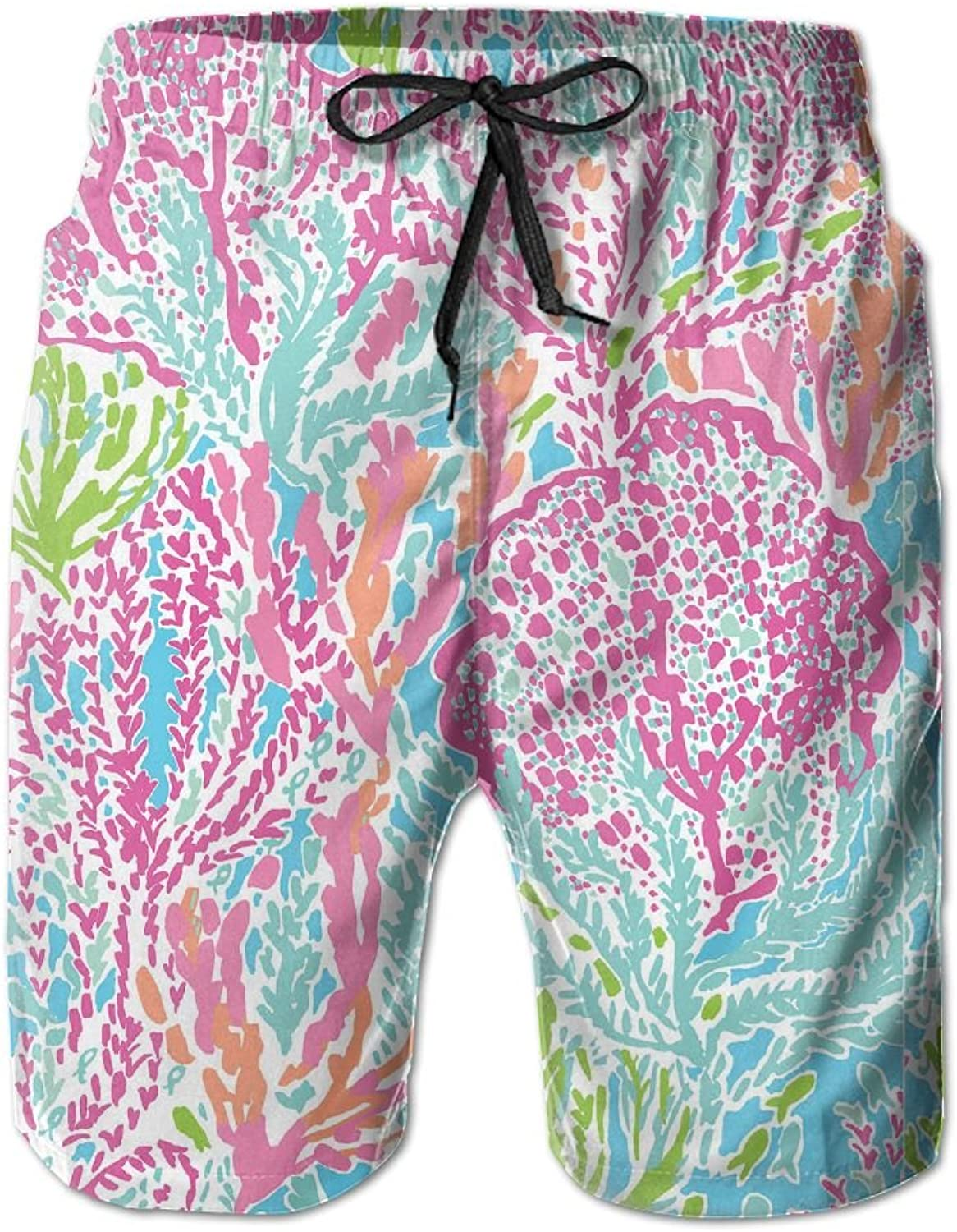 0b326a5201 Quick Quick Quick Dry Men's Beach Board Shorts Pink Lilly Watercolor  Painting Surfing Swim Trunks Beachwear With Pockets 24b0e1