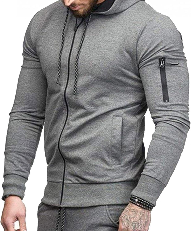 Hoodies for Men Casual Full Zip Cardigan Mens Athletic Hoodies Long Sleeve Sport Sweatshirt Drawstring Gym Pullover
