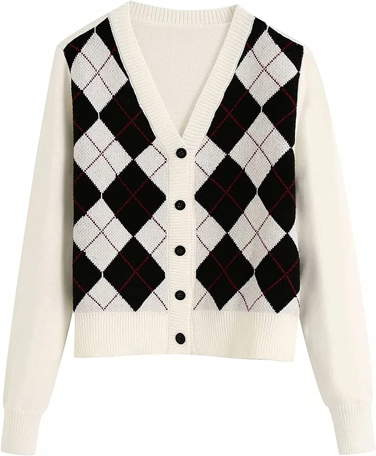 YQRDSHJS Sweater Cardigan For Women Long Sleeve Fashion Casual Loose Comfy Argyle Pattern England Style Cropped Sweater Tops