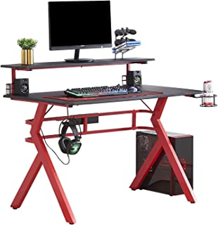 """HOMYSHOPY Computer Gaming Desks, 2-Tired Gamer Desk with 47.2 inch TV Stand, Cup & Game Controller Holder, Headphone Hook and Voice Box Storage (47.2"""" x 26.8"""")"""