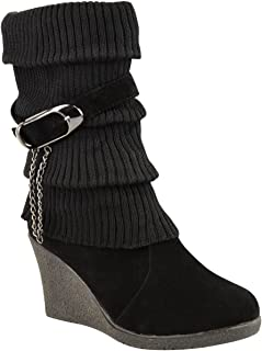 Womens Mid High Wedge Heel Knitted Warm Winter Slouch Biker Knee Calf Ankle Boots Size