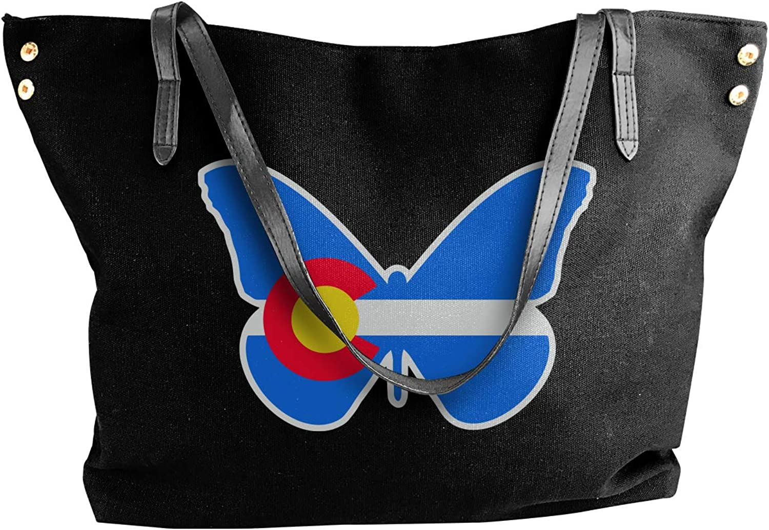 colorado State Flag Monarch Butterfly Women'S Leisure Canvas Shoulder Bag For Work Handbag