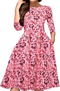 Dress for Women A-Line Pocket 3/4 Sleeve Boho Floral Elegant Loose Party Casual Summer Midi Swing Dress with Belt
