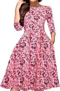 LONGDAY Women's Floral Vintage Dress Elegant Midi Evening Dress 3/4 Sleeve Long Sleeve A-Line Party Cocktail Swing