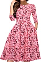 Women's Floral Vintage Dress Elegant Midi Evening Dress 3/4 Sleeve Long Sleeve A-Line Party Cocktail Swing LIM&Shop