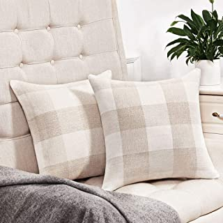 Anickal Set of 2 Beige and White Buffalo Check Plaid Throw Pillow Covers Farmhouse Decorative Square Pillow Covers 18x18 Inches for Farmhouse Home Decor