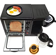 3 in 1 Breakfast Maker Station Hub 500W 5L With( 650W 4 Cup Espresso Coffee Maker, Multi Function 500W/5L Toaster Oven, Non Stick 6