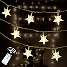 HOTINS Star String Lights 100 LED Remote Control Plug in LED Fairy String Lights for Wedding Party Patio Christmas Tree Holiday Indoor Outdoor Bedroom Decoration Warm White