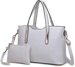 Miss Lulu Bolsas de Señoras Moda Cuero Pu 2 Piezas Totalizador Bolsos de Hombro para Mujeres (Blanco)
