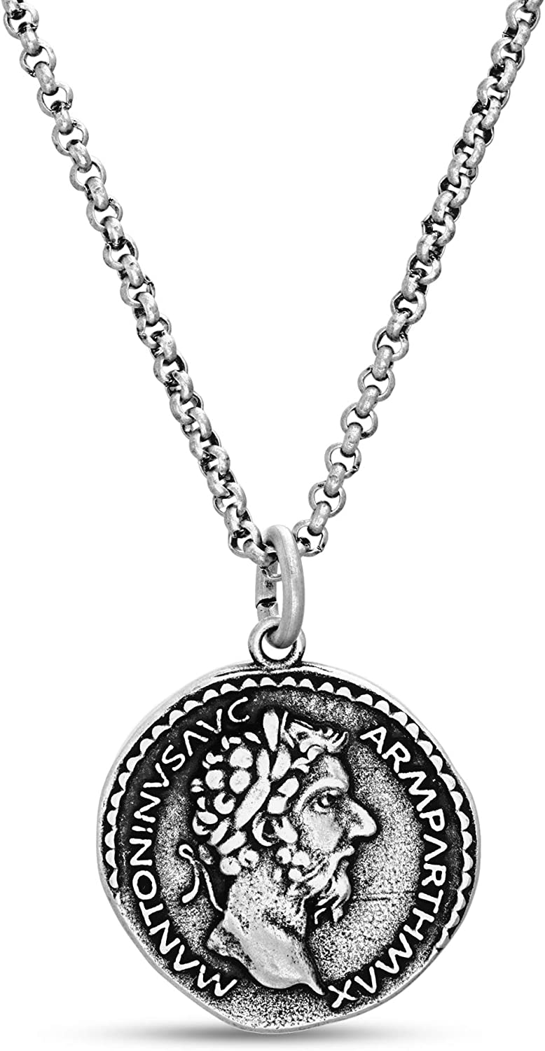 Steve Madden Oxidized Stainless Steel Coin Necklace For Men