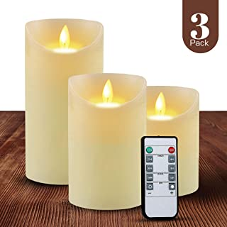 ABAMERICA Flameless Candles Pack of 3 Battery Operated Pillar Real Wax Flickering Moving Wick Electric LED Candle Gift Sets with Remote Control Cycling 24 Hours Timer