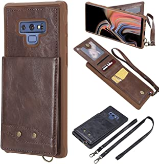 Galaxy Note 9 Necklace Case Wallet-Samsung Note 9 TPU Back Cover [Detachable Neck Strap & Wrist Lanyard] Flip Kickstand Ca...